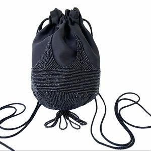 VTG Walborg Black Beaded Mini Bag w/ Tassel Accent